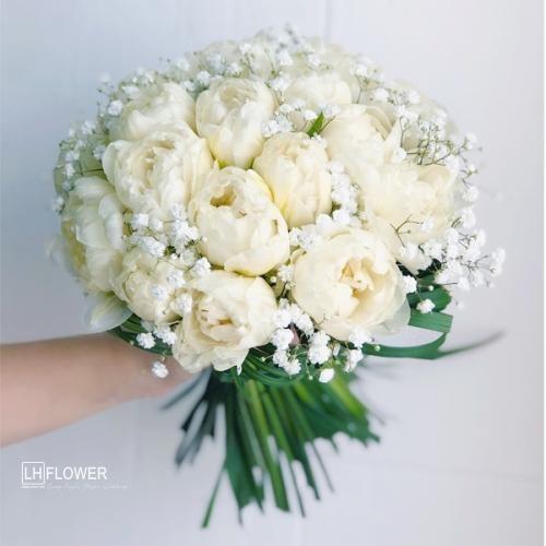 Hoa Cầm Tay Cô Dâu Mây Trắng