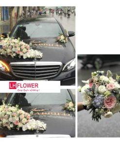 hoa cưới trang trí xe ô tô